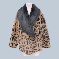 Designer Faux Fur Leopard with Suede Interior Like New