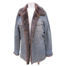 Blue Jean Jacket Coat with Faux Fur Lining Like New Designer Coat