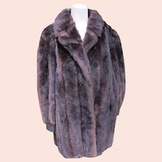 Faux Fur Coat Made in England with Suede Inserts Clean Black Brown