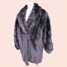 Faux Fur Coat Jacket in Black Fur Satin Lining Like New 1980s'