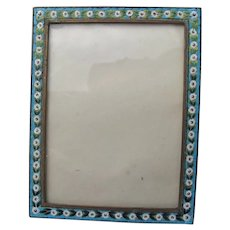 Antique Picture Frame Micro Mosaic Italian Tile Flowers 1900