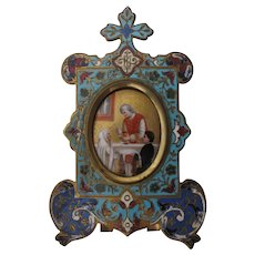 French Champleve Frame Enamel Priest at Alter Communion 1850-1885 Hand Painted
