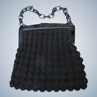 Crocheted Purse Hard Plastic Frame Black Good Condition 1940's