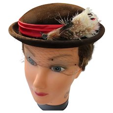 French Felt Hat with Feathers Netting 1940's Beverly Hills Couture