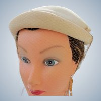 Wool Hat Winter White Clean Good Condition 1940's Size 22
