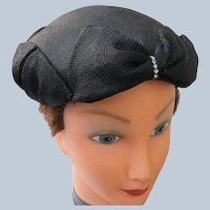 Black Linen Hat Rhinestones Hand Stitched 1940's