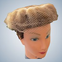 1940's Fur Hat with Satin Bow and Netting Union Made USA