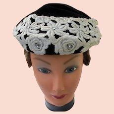 Woman's 1940's Black Velvet Hat Rhinestones and Lace Designer Eva Mae