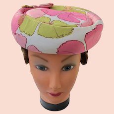 Woman's 1950's Hat in Satin by Designer Peck and Peck Pink and Green Clean