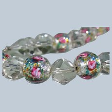 Crystal Beaded Necklace Italian Murano Wedding Cake Beads Pink