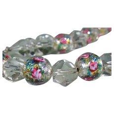 Crystal Beaded Necklace Italian Murano Wedding Cake Beads Pink