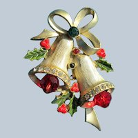 Christmas Bells Pendant Jeweled with Mistletoe and Rhinestones