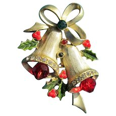 Christmas Bells Pendant Jeweled with Mistletoe and Rhinestones