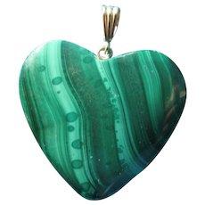 Malachite Heart Pendant Silver