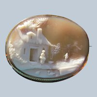Cameo 10 K Gold Scene Shell Carving Antique