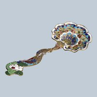 Champleve Enamel Spoon 1850-1880 In Excellent Condition
