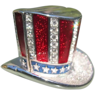 Estee Lauder Jeweled Solid Perfume 1998 Star Spangled Hat with Box