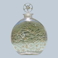 R Lalique Perfume Bottle D'Orsay 1922 Large Size Sepia Tone Flowers