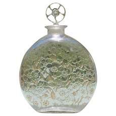 R Lalique Perfume Bottle D'Orsay 1922 Large Size Sepia Tone Flowers