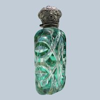 Victorian Scent Bottle Cut Glass Green to Clear with Sterling Silver Top