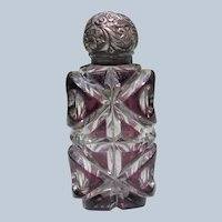Victorian Perfume Scent Bottle Cut Glass Purple to Clear
