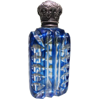 Victorian Scent Bottle with Sterling Silver Hinge Top and Glass Plug