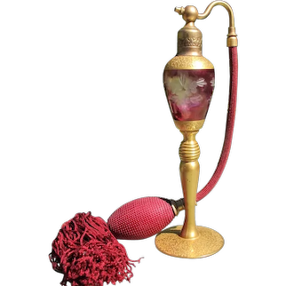 Pyramid Perfume Atomizer 1920's Cranberry Flash and Etched Glass