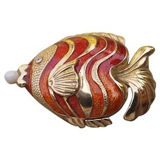 Estee Lauder Solid Perfume Enamel Tropical Fish 1994 Spellbound Fragrance
