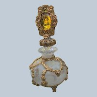 1950's Jeweled Perfume Bottle with Gold Metal Filigree Roses