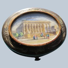 1880's Coin Purse Brass Leather and Silk Lining with Painting Glass