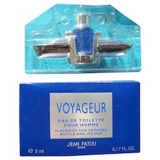 "Jean Patou Flacon Mini Bottle with Ship Boxed ""Voyageur"" 1994"