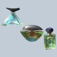 Three Mini Perfume Bottles Vintage with Black Plastic Stoppers