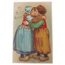 Tuck's Valentine's Day Post Card with Dutch Children Kissing Perfect 1906