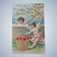 Valentine's Day Post Card with Cherub and Hearts