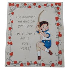 Valentine's Day Card Large 1929 Boy on Rope