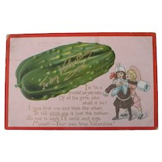 Valentines Day Postcard with Pickle by Tucks and Sons 1911