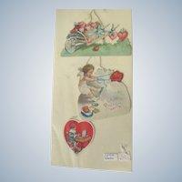 Three Valentines 1920's Strung together Cherub Hearts Violas