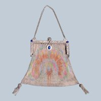 Mesh Purse Peacock Jeweled Frame Grapes Swans Great Condition 1910