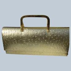 Vintage Unused Purse Gold Ostrich w/ Handles Y & S w/ Label
