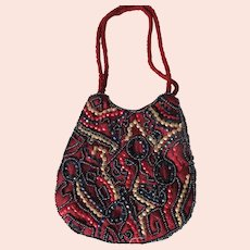 Small Beaded Purse Handbag Vintage Red Navy Gold Sequined