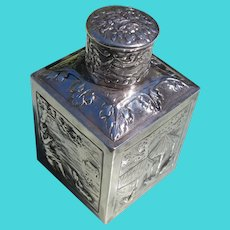 Tea Caddy in Reprosse Scenes Hallmarked Silver over Copper Great Condition
