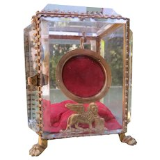 French Beveled Glass Watch Box Antique