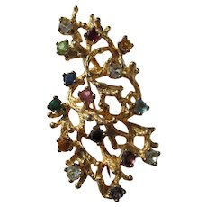 Brooch / Pin Multicolored Stones Marked Ster.PC Vintage Jewelry