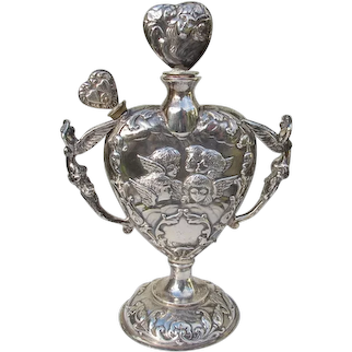 Rare Antique Perfume Bottle Sterling Silver 1900 Angels English William Comyns