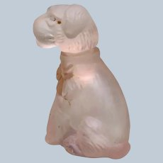 Rare 1934 Dog Perfume Bottle Etched Made in Japan Replica of Hoffman Czech Dog