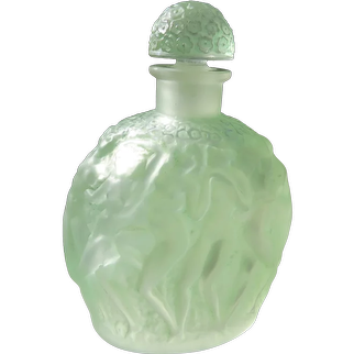 R. Lalique Perfume Bottle Calendal by Molinard Green Nudes 1937