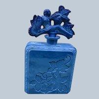 Czechoslovakian Perfume Bottle Lapis Glass Blue Hoffman 1920's-1930's