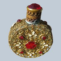 Czechoslovakian Jeweled Perfume Bottle Red Stones and White Enamel 1920's.