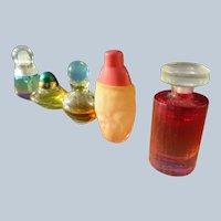 Vintage Mini Perfume Bottles Five Colorful Minis with Perfume
