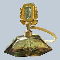 Jeweled Perfume Bottle Atomizer Cut Glass Smokey Topaz Color 1940's
